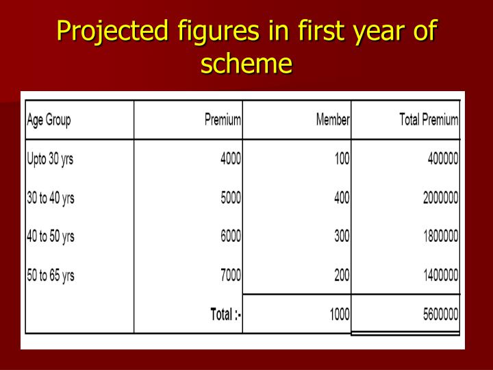 Projected figures in first year of scheme
