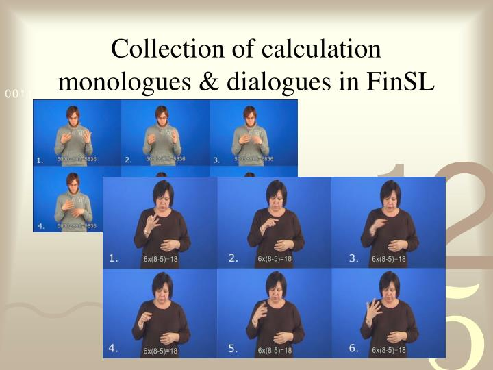 Collection of calculation monologues & dialogues in FinSL