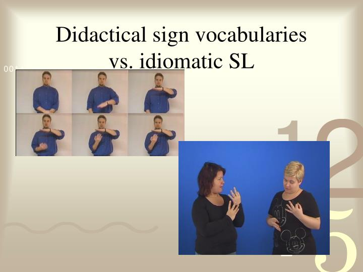 Didactical sign vocabularies