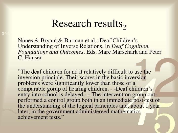 Research results 2