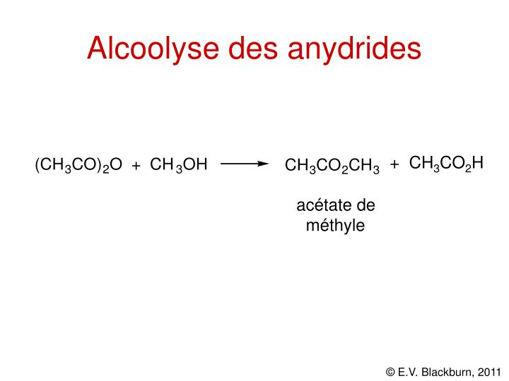 Alcoolyse des anydrides