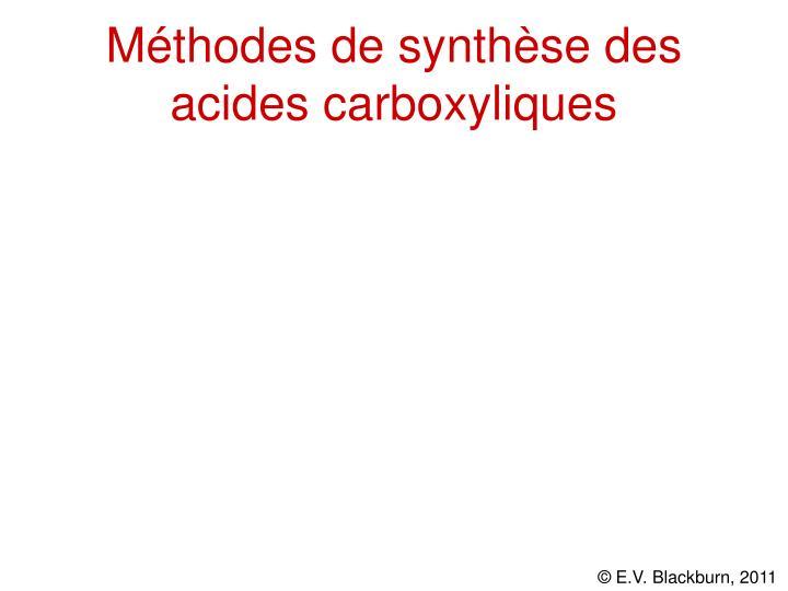 Méthodes de synthèse des acides carboxyliques