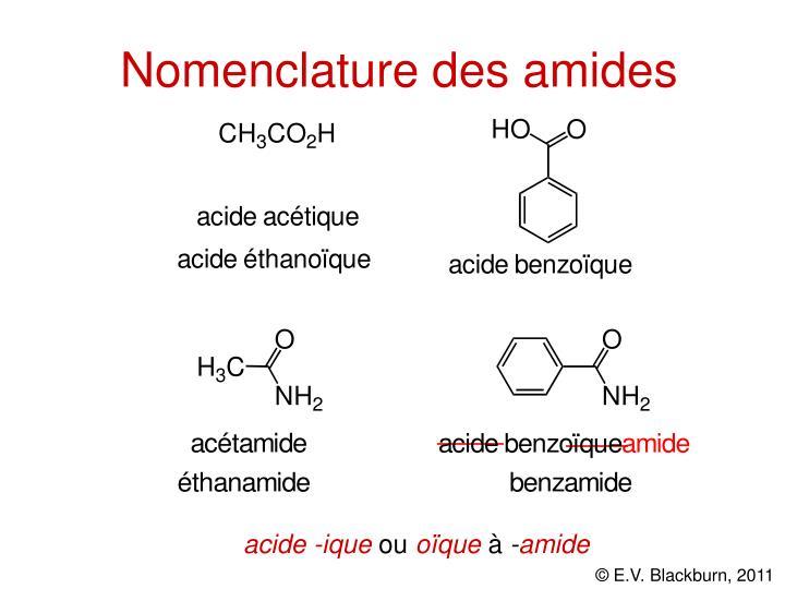 Nomenclature des amides