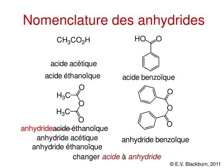 Nomenclature des anhydrides