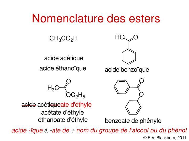 Nomenclature des esters