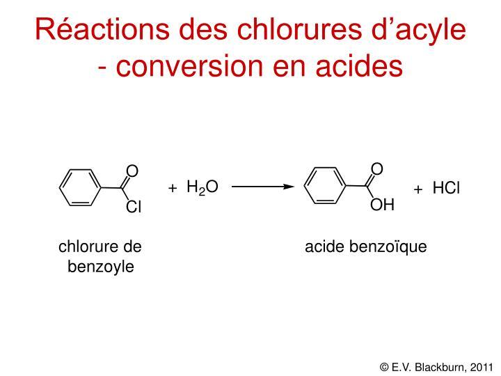 Réactions des chlorures d'acyle - conversion en acides