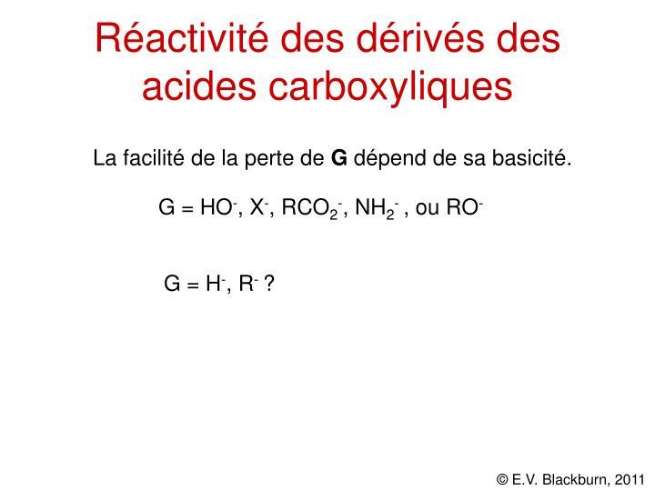 Réactivité des dérivés des acides carboxyliques