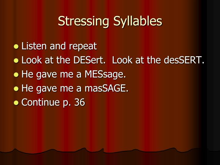 Stressing syllables