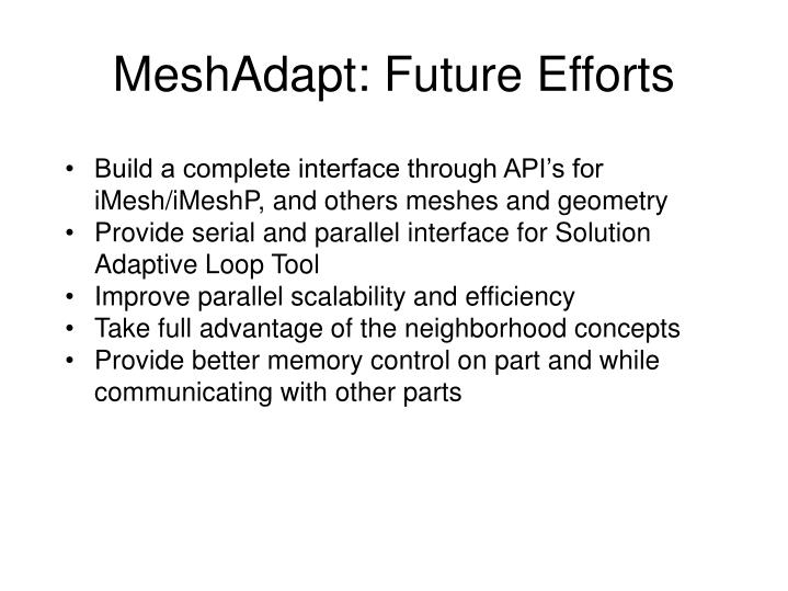 MeshAdapt: Future Efforts