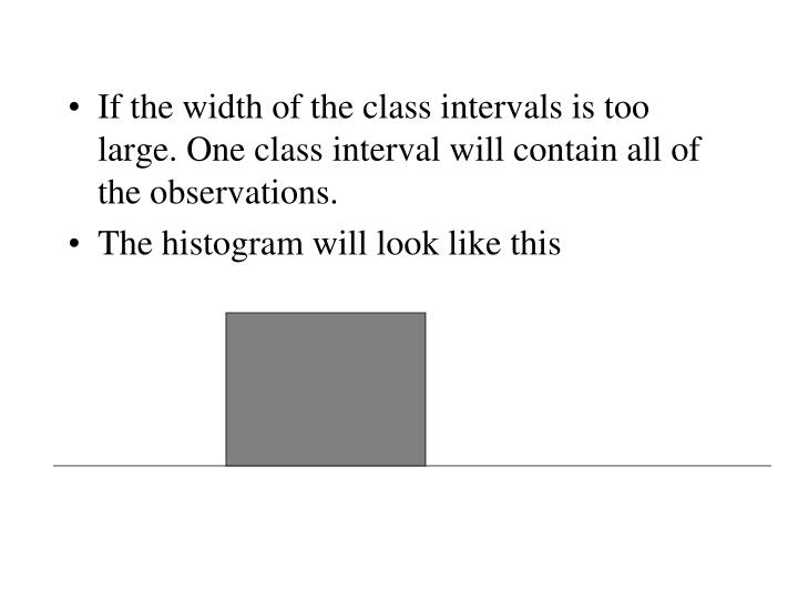 If the width of the class intervals is too large. One class interval will contain all of the observations.