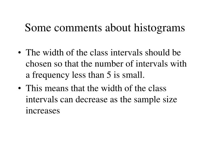 Some comments about histograms