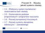 priorytet iii wysoka jako systemu o wiaty1