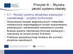 priorytet iii wysoka jako systemu o wiaty11