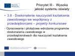 priorytet iii wysoka jako systemu o wiaty12