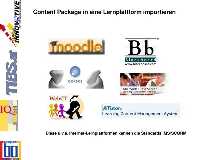 Content Package in eine Lernplattform importieren