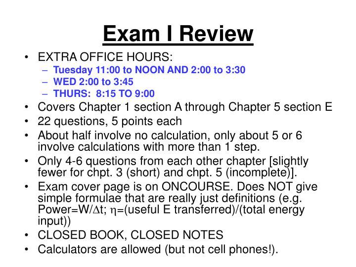 Exam I Review