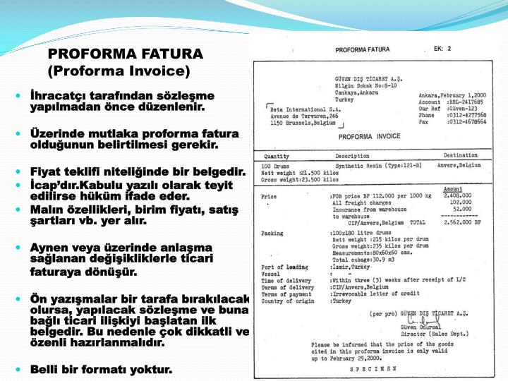 proforma invoice price