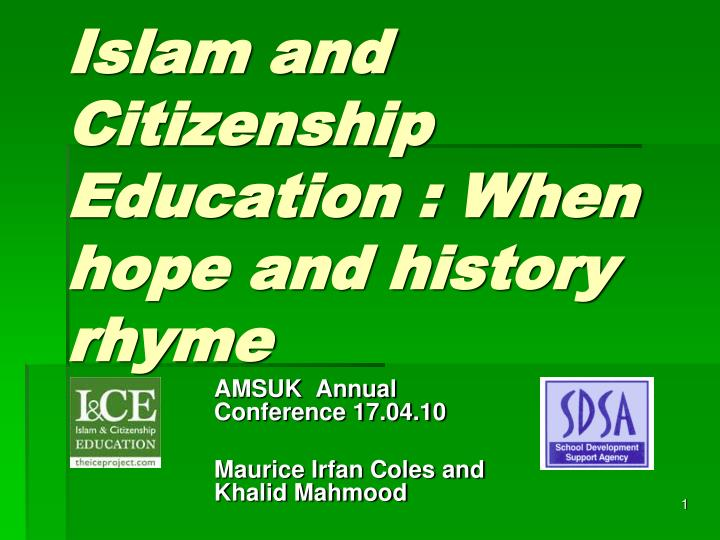 islam and citizenship education when hope and history rhyme n.