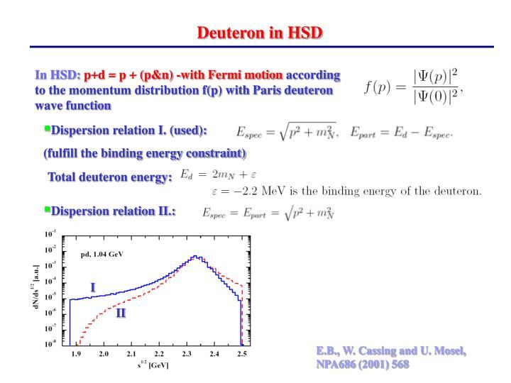 Deuteron in HSD