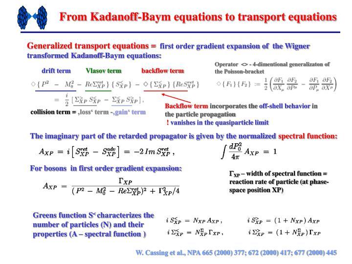 From Kadanoff-Baym equations to transport equations