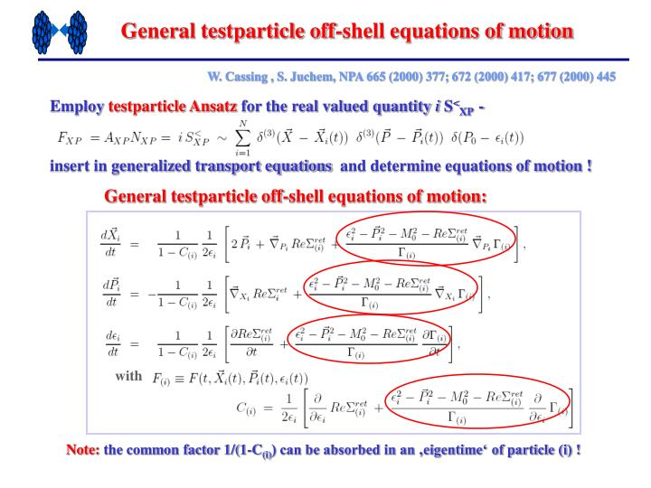 General testparticle off-shell equations of motion
