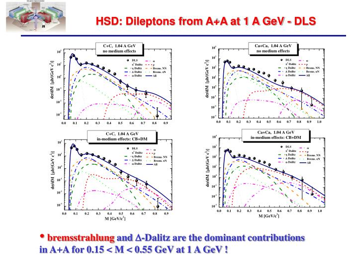 HSD: Dileptons from A+A at 1 A GeV - DLS