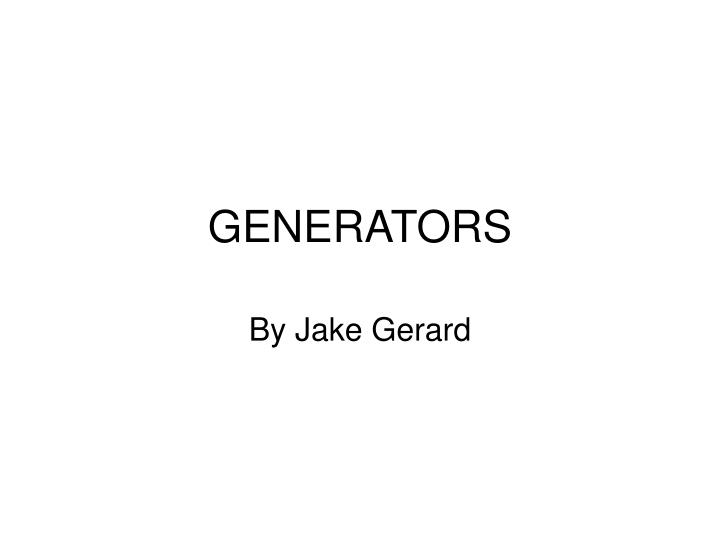 generators n.