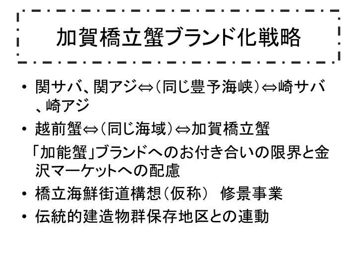 加賀橋立蟹ブランド化戦略