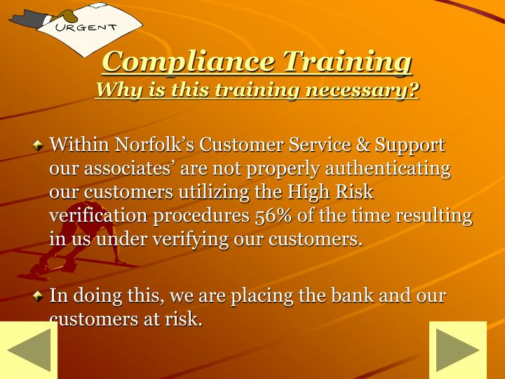 Compliance training why is this training necessary