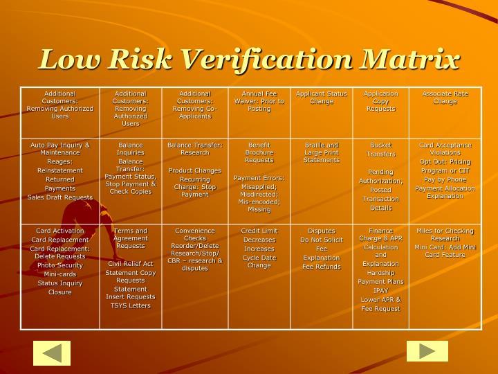Low Risk Verification