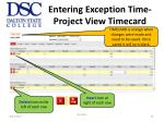 entering exception time project view timecard