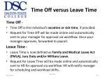 time off versus leave time