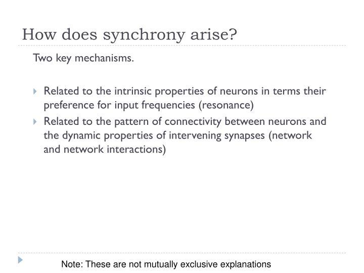 How does synchrony arise?
