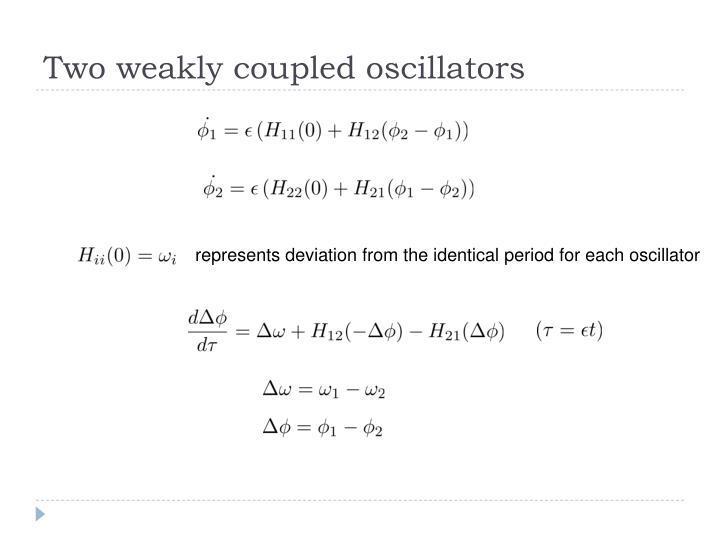 Two weakly coupled oscillators