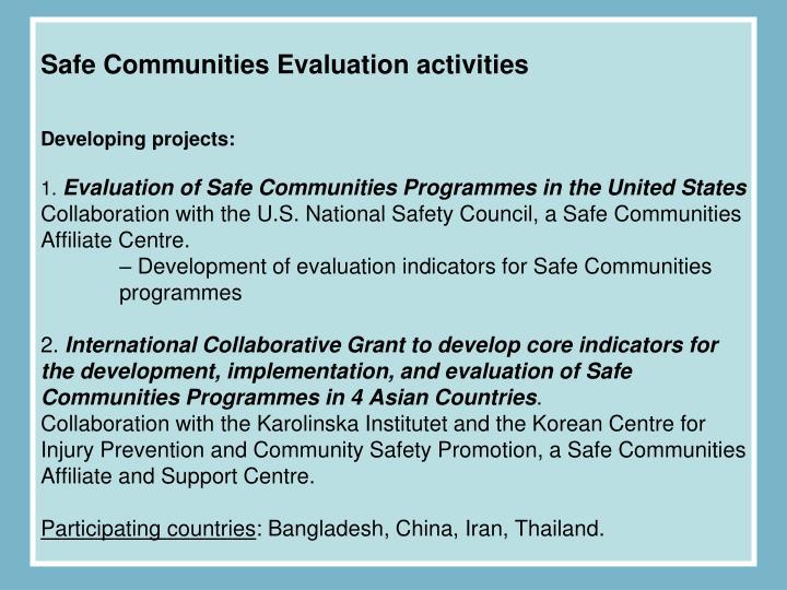 Safe Communities Evaluation activities