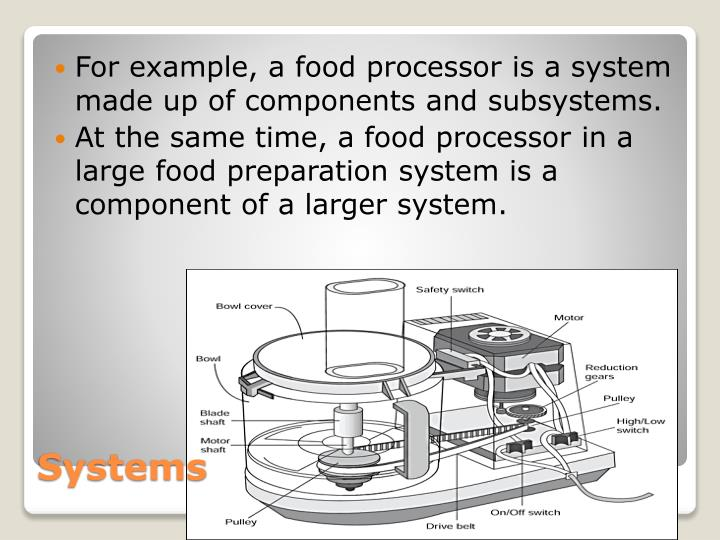 For example, a food processor is a system made up of components and subsystems.