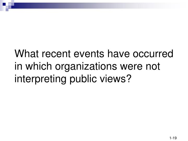 What recent events have occurred in which organizations were not interpreting public views?