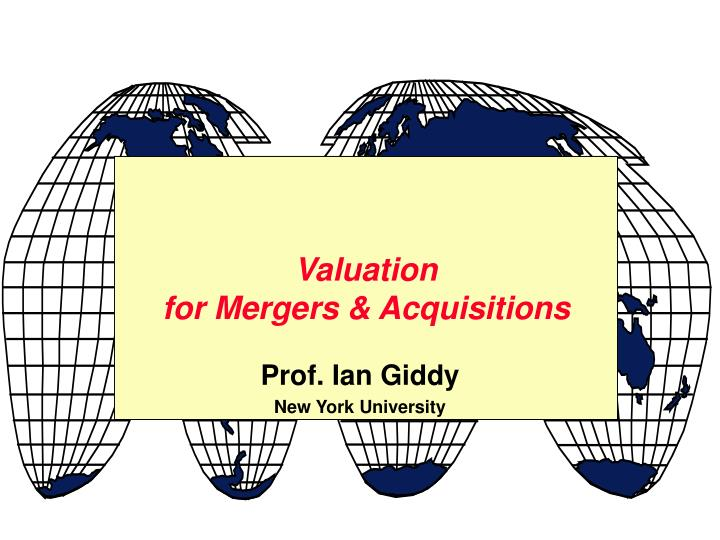 valuation for mergers acquisitions n.