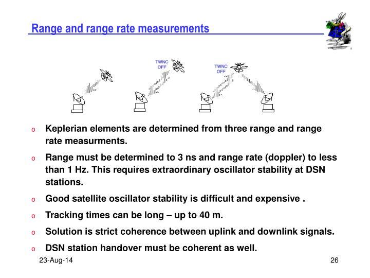 Range and range rate measurements