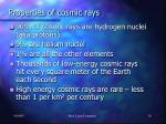 properties of cosmic rays