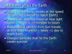 solar flares affect the earth