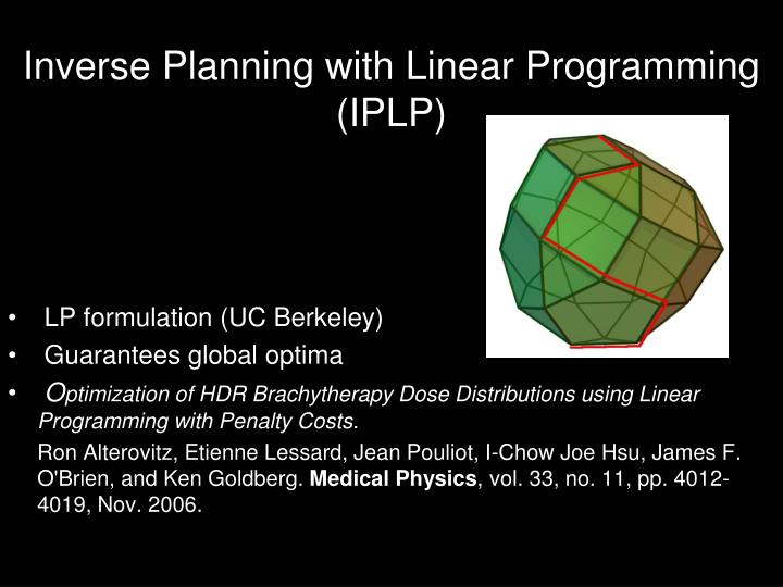 Inverse Planning with Linear Programming (IPLP)