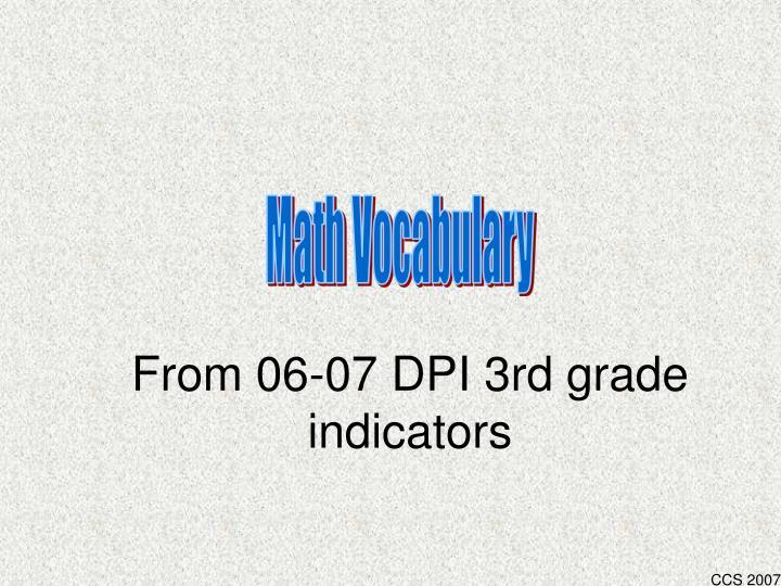 from 06 07 dpi 3rd grade indicators n.