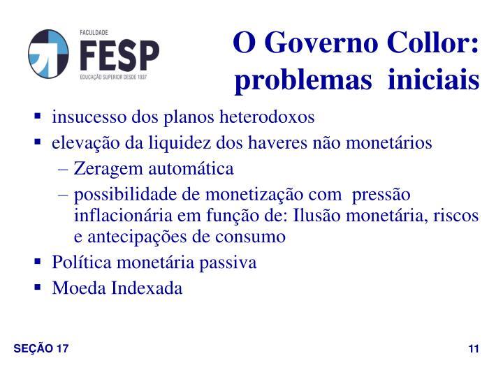 O Governo Collor: problemas  iniciais