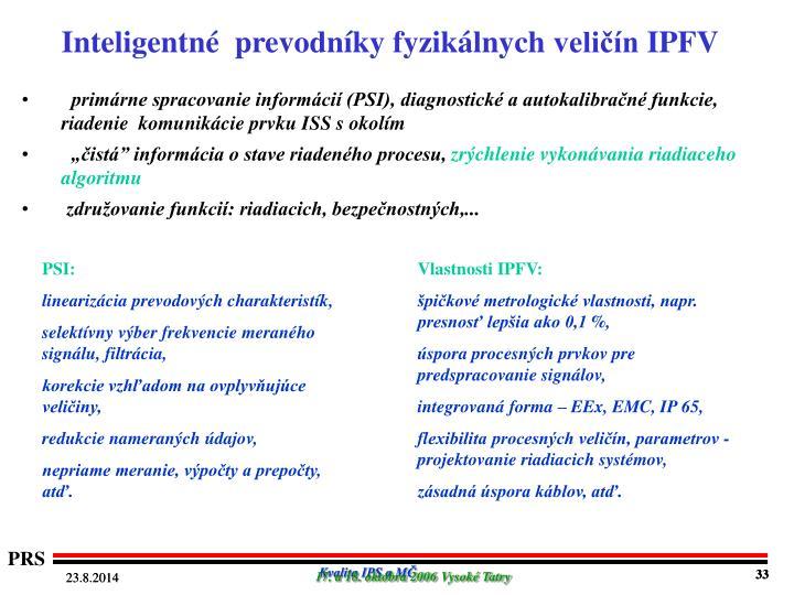 Inteligentné  prevodníky fyzikálnych veličín IPFV