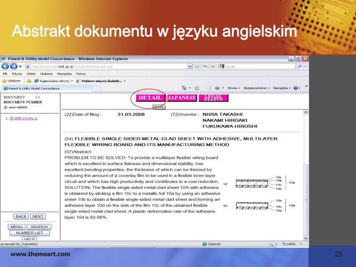 Abstrakt dokumentu w języku angielskim