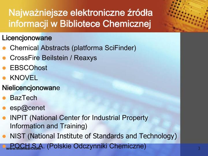 Najwa niejsze elektroniczne r d a informacji w bibliotece chemicznej