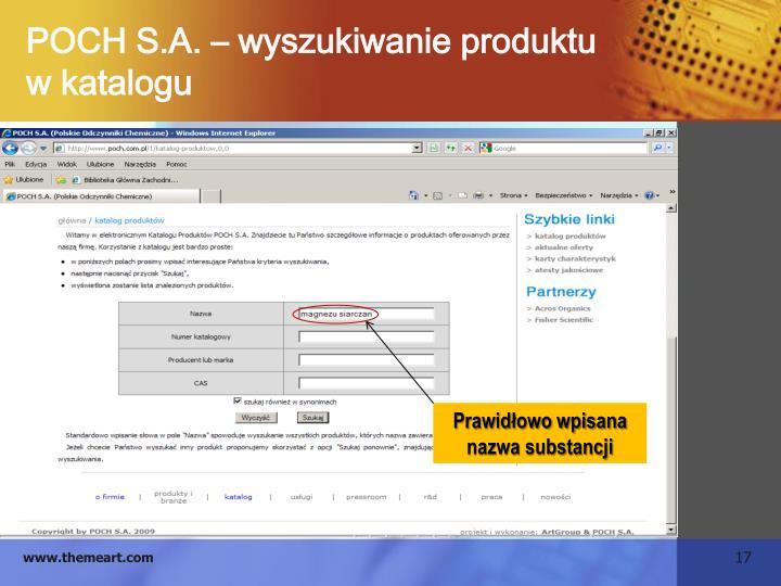 POCH S.A. – wyszukiwanie produktu                      w katalogu