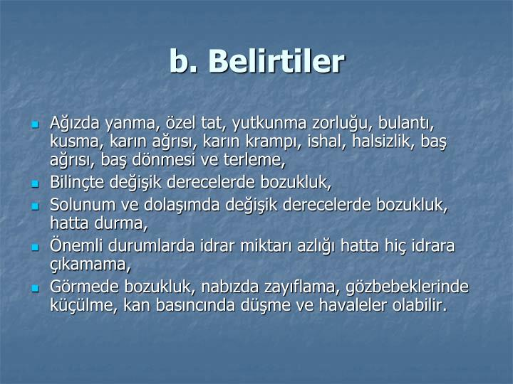 b. Belirtiler