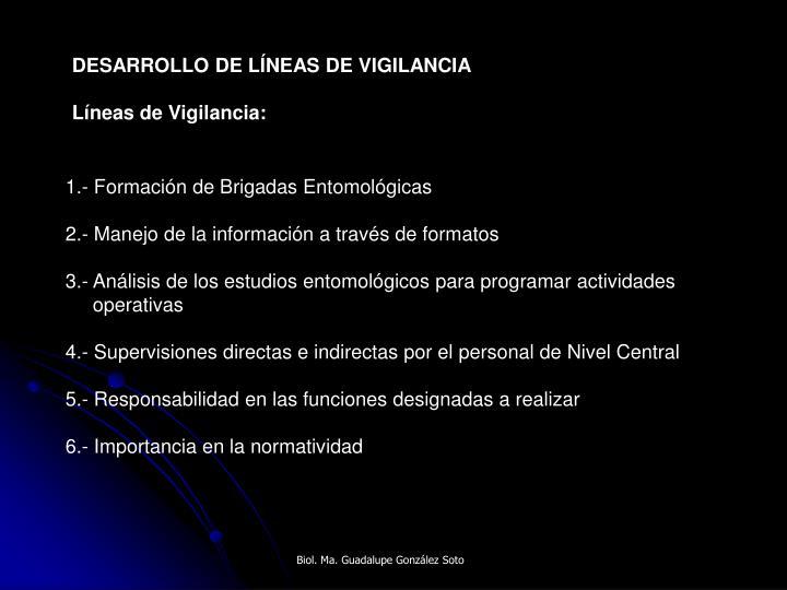 DESARROLLO DE LÍNEAS DE VIGILANCIA